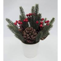 H: 10 / 25CM ANGEL PINE / BERRIES / PINECONE ARRANGE IN WHITE PLASTIC POT.